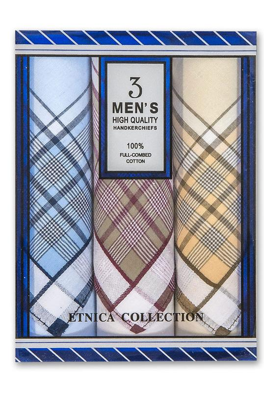 """Подарочный набор мужских носовых платков """"Etnica Collection"""" 3 шт"""