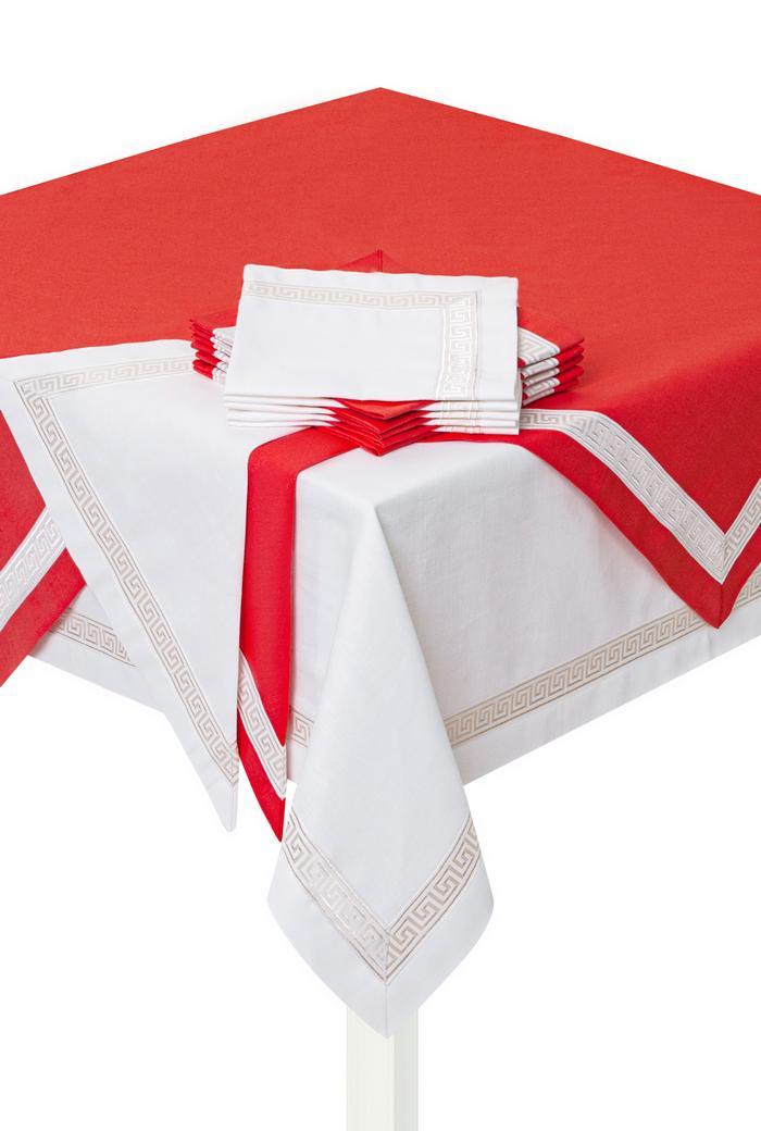 Комплект столового белья Лён (красный)