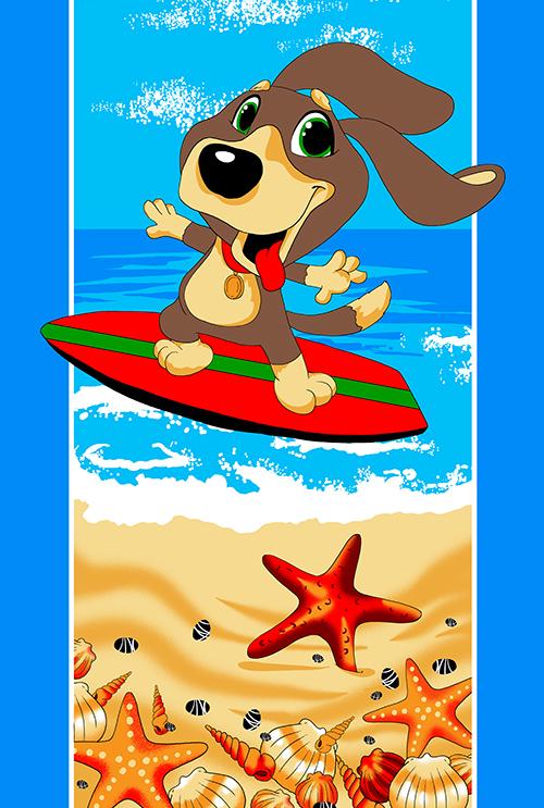 Полотенце махровое Собачки (щенок сёрфер)