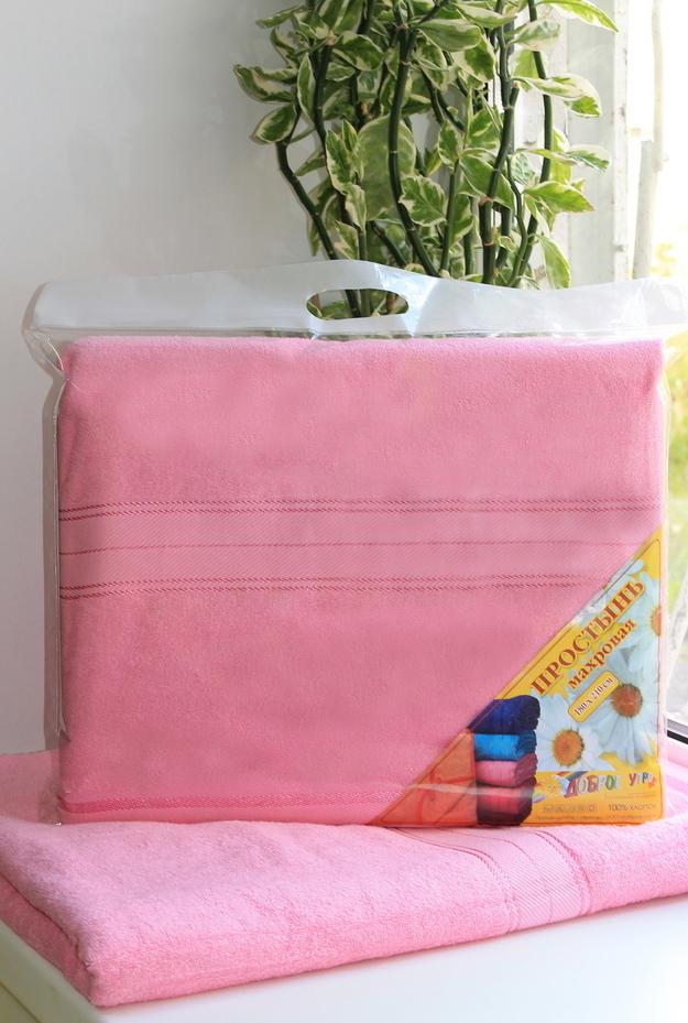 Простыня махровая розовая 2,0 сп. в сумочке